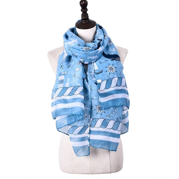 Leisure Thin Sea Anchor Boat Scarf Shawl Lighthouse Whale Muslim Scarf