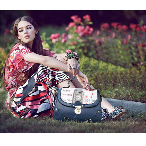 New British Big Ben Butterfly Printing Shoulder Bag&Messenger Bag - lilyby