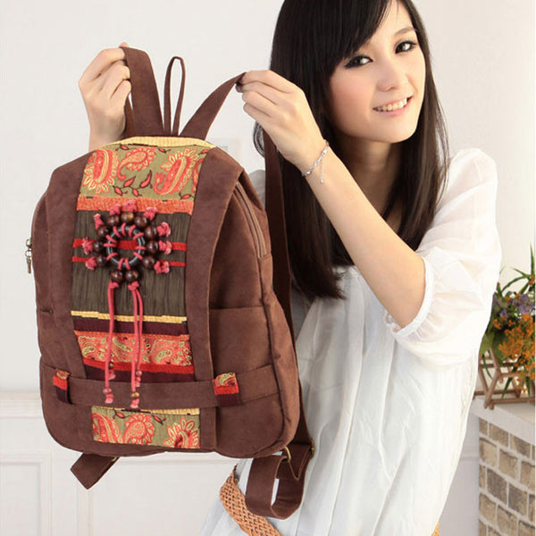 Retro Handmade Wooden Bead Backpack - lilyby