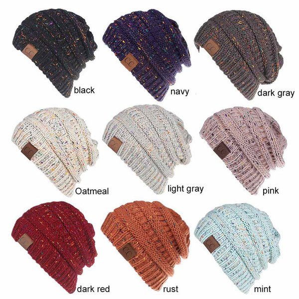 Leisure Ponytail Outside Headbands Mixed Color Warm Winter Women Hat