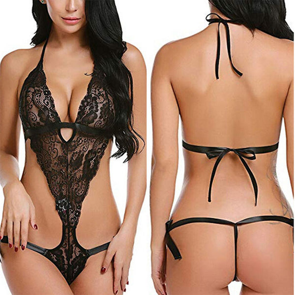 Sexy  Lace Hollow Sling Conjoined Women Cross Flower Intimate Lingerie