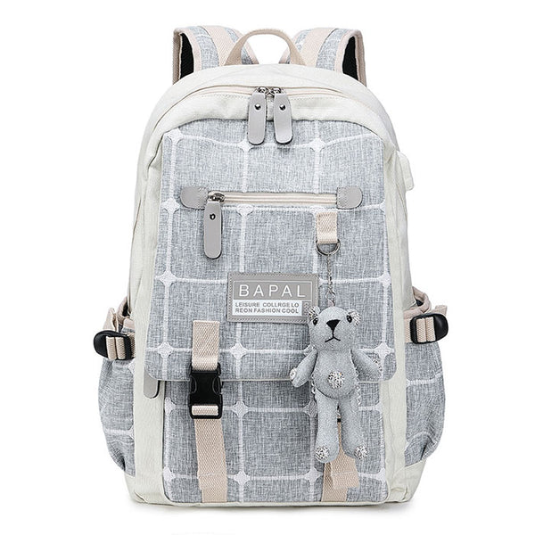 Fresh Cartoon Bear Decor Double Buckle Grid Canvas School Bag Large Capacity College Backpack