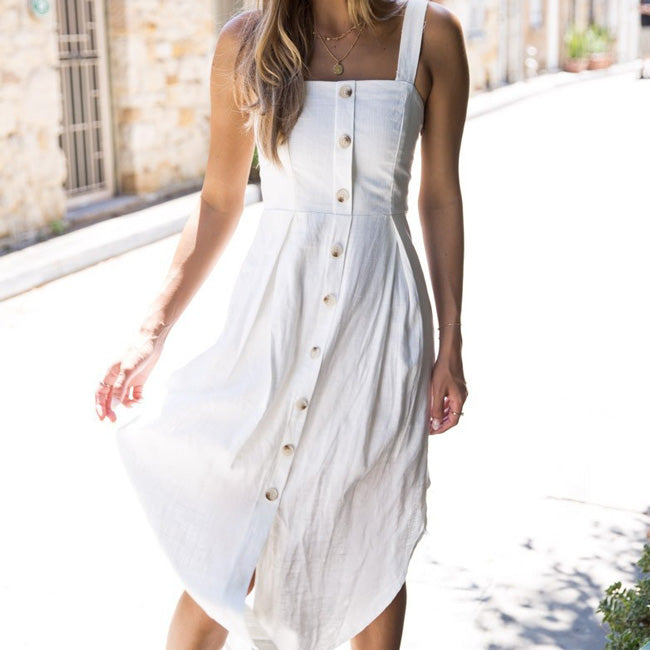 Cute Sleeveless Strapless Button Strap Lady Long Dress
