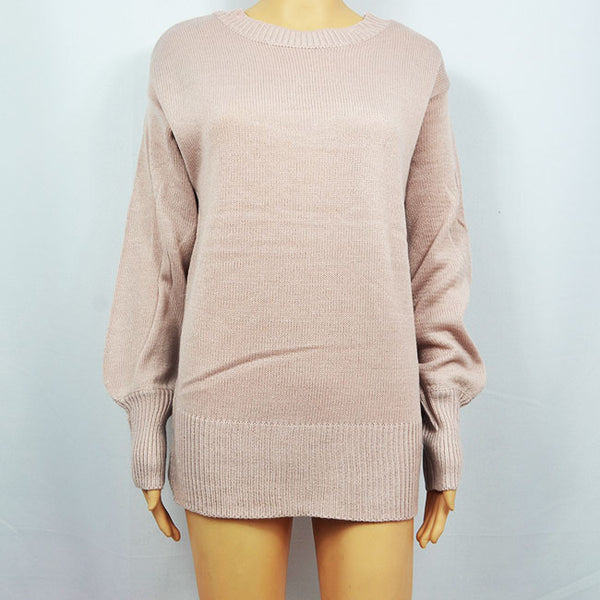 Leisure  Sleeve Back Bow Knitting Loose Long Wool Women's Sweater