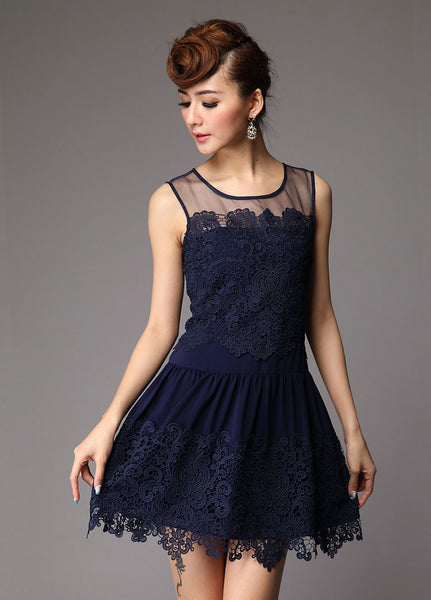 Graceful Lace Pierced Flower Party Dress - lilyby