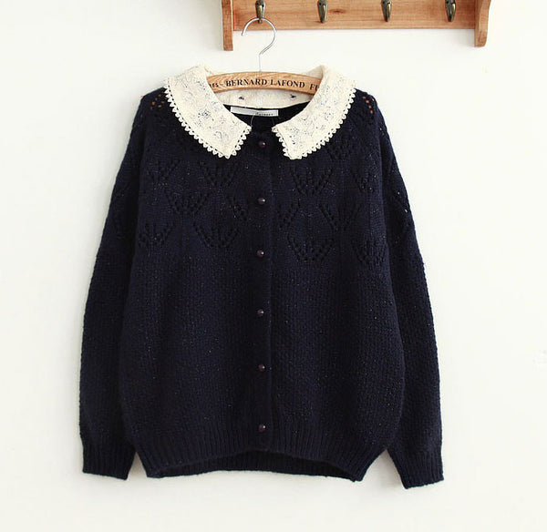 Cute Pierced Lace Loose Sweater Knit Cardigan - lilyby