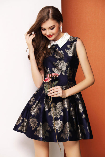Graceful Retro Turn-down Collar Beaded Dress - lilyby