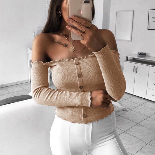 Sexy Long Sleeve Body-con Off Shoulder Women's Tops