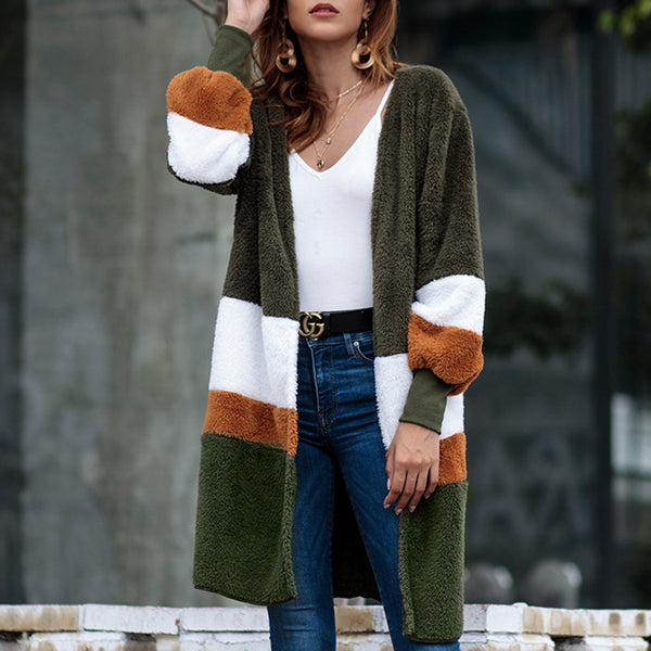 Leisure Striped Long Cardigan Warm Velvet Loose Long Sweater Autumn Coat