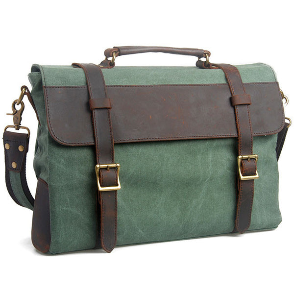Retro Mental Lock Leather Large Square Splicing Double Buton Canvas Shoulder Bag