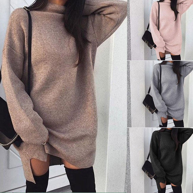 Casual Large Size Loose Knit High Collar Women's Split Sweater Dress