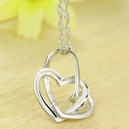 Graceful Twined Heart Shape Silver Pendant - lilyby