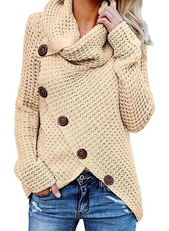 Unique Long Sleeve High Collar Wool Knitting Women's Irregular Sweater Coat