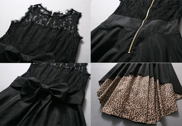 New Fashion Leopard Sexy Lace Stitching Chiffon Dress - lilyby