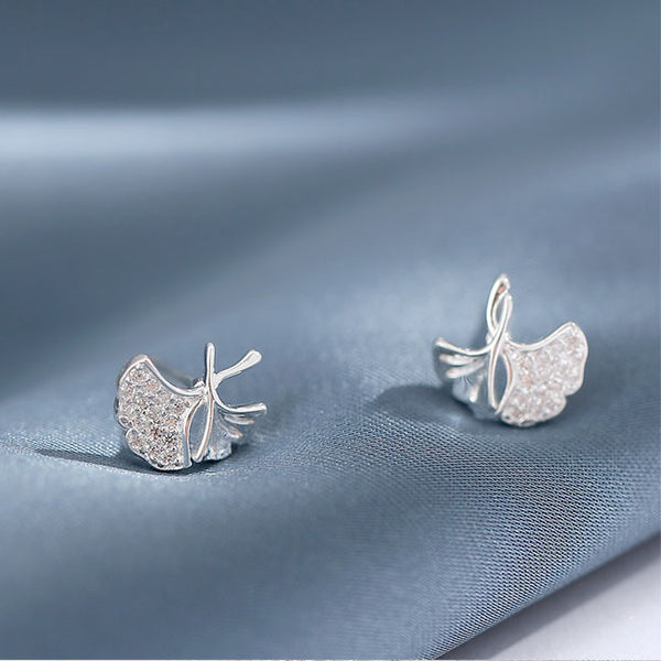 Unique Lotus Leaf Fresh Simple 925 Silver Earring Studs
