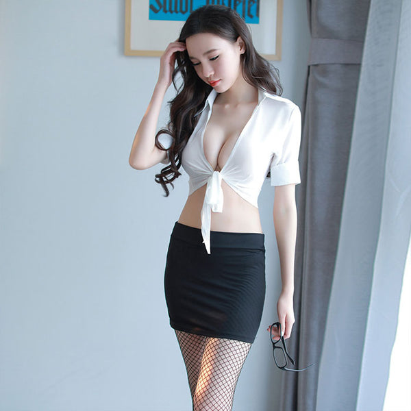 Sexy Temptation Pack Hip Short Skirt OL Bow Cosplay Perspective Uniform Secretary Lingerie
