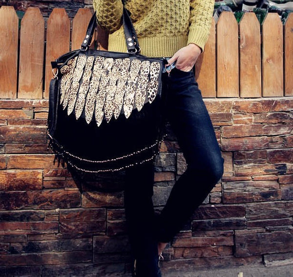 Retro Shining Leopard Fringed Handbag