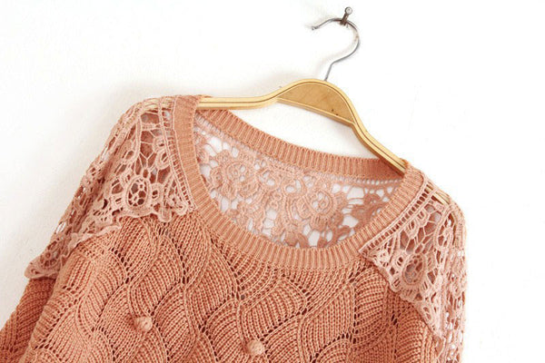 Cheap Pretty Lace Crochet Wool Ball Sweater &Knitting - lilyby