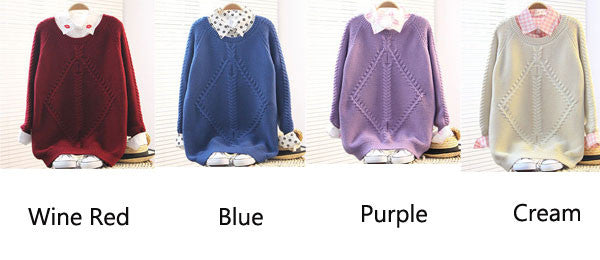 Retro Purple Raglan Twist Sleeve Sweater - lilyby