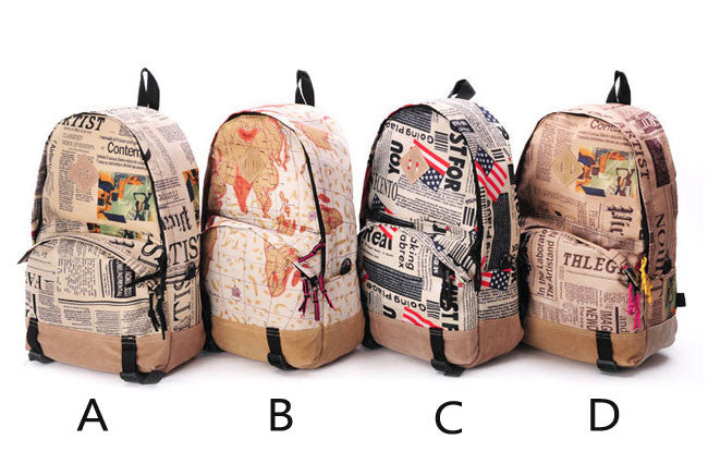 World map cheapspapers pattern canvas backpacks lilyby world map cheapspapers pattern canvas backpacks gumiabroncs Choice Image