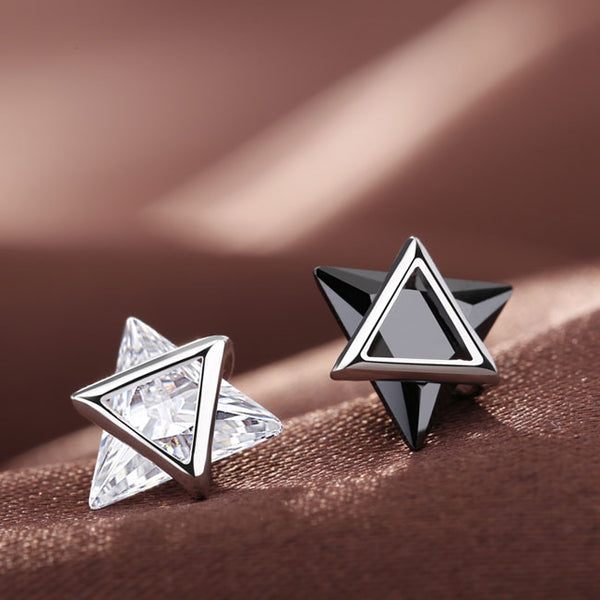 Cute Silver Zircon Personality Double Triangle Women Earrings Studs