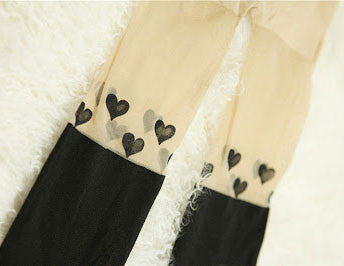 Heart Skin Color Thigh Stitching Silk Stockings - lilyby