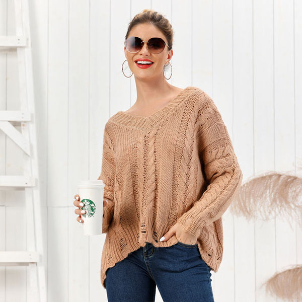 Fashion Knit Long Sleeve V-neck Twist Cardigan Coffee Loose Women Sweater