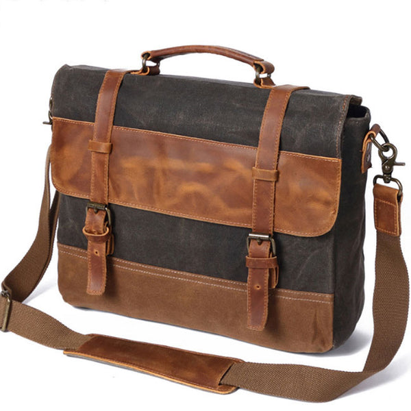 Retro Leather Outdoor Large Thick Double Buckle Canvas Shoulder Bag