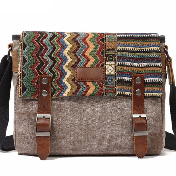 Vintage Folk Style Outdoor Totem Canvas Crossbody Bag Shoulder Bag