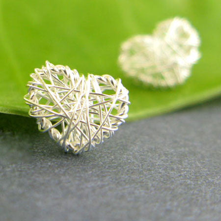 Sweet Heart Square Hollow Out Studs Silver Wire Drawing Earring