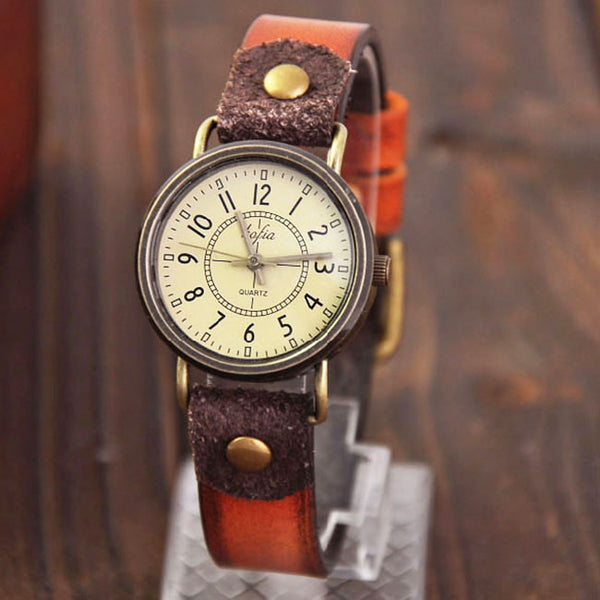 Retro Classical Quartz Cortical Leather Waterproof Wrist Watch