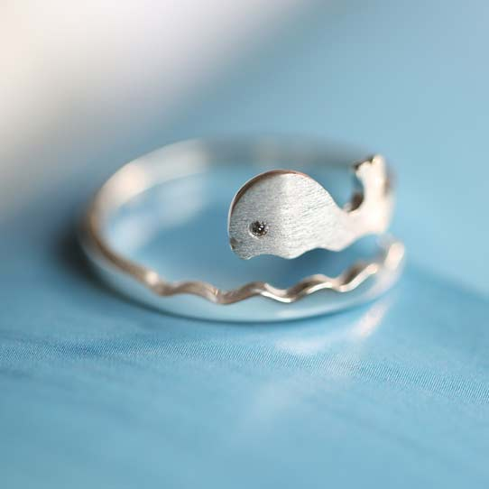 Cute Frosted Ocean Style Vivid Whale Wave Open Ring  Dolphin Silver Ring
