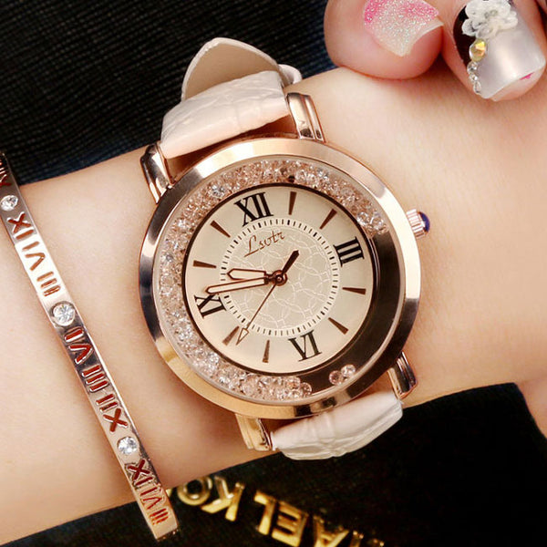 Unique Shining Flowing Diamond Roman Numerals Dial Quartz Women Watch