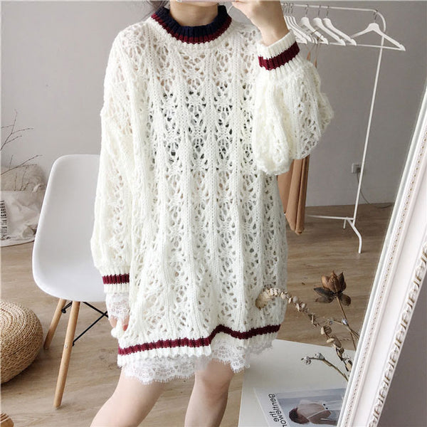 Hollowed-out Flower Design Sweater Dress