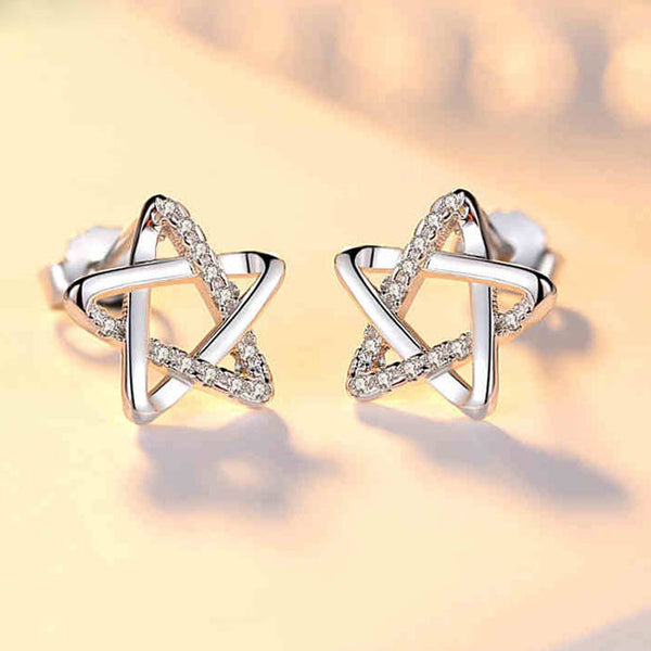 Fashion Shining Star Silver Cute Zircon Star Hollow Earring Studs