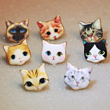 Cartoon Animal Cat Duck Dog Robot Women Cute Kitty Earring Studs