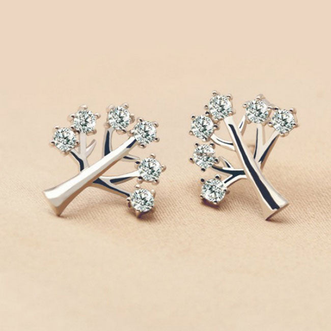 Fashion 925 Silver Creativity Tree Women Rhinestone Earrings Studs