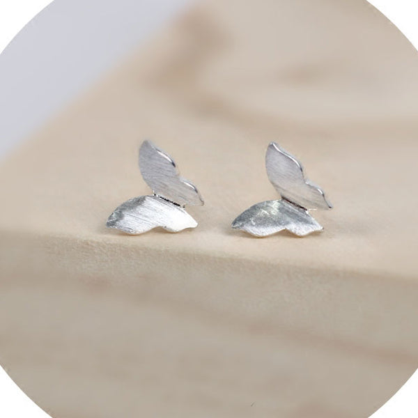 Cute Pure Butterfly Simple Brushed Silver Mini Animal Earring Studs