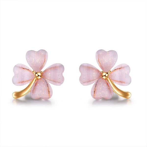 Fashion Wild Four Leaf Grass Personality Trend Silver Flower Earring Studs
