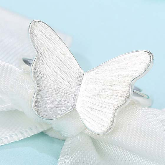 Cute Brushed Simple Girl's Frosted Vivid Butterfly Silver Animal Open Ring