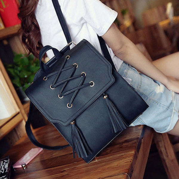 Retro Flap Square School Bag Weave Leisure Brown Girl's Cross Bandage Tassels Travel Backpack