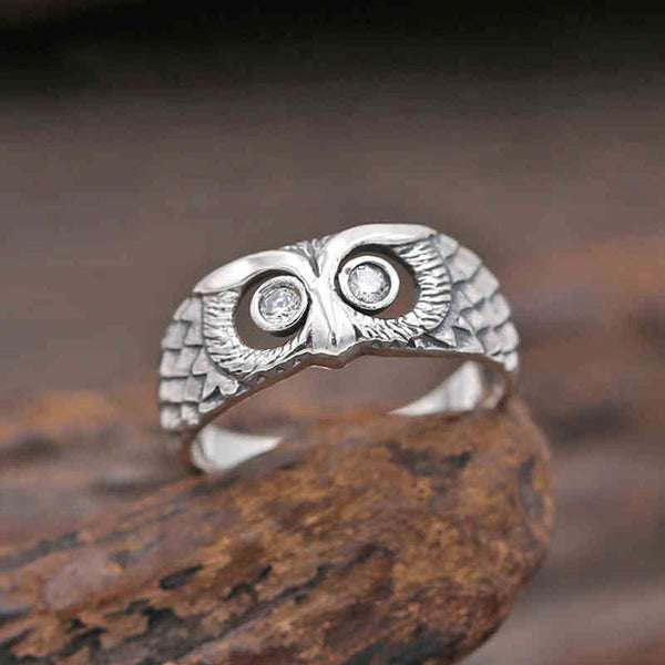 Retro Silver Animal Ring Creative Diamond Owl Open Ring