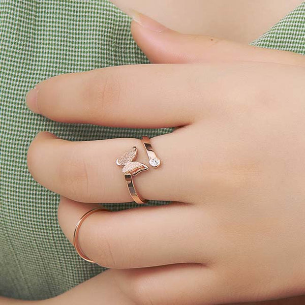 Cute Vivid Double Layer Frosted Butterfly Animal Rose Gold Girl's Open Ring