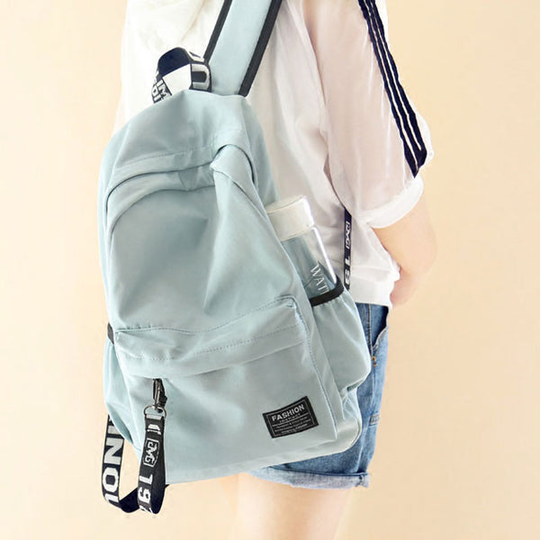 Fresh Letters Belts School Bag Young Simple Waterproof Pure Color Travel Backpack