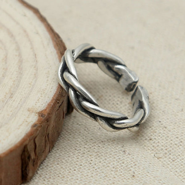 Unique Design Retro Thai Silver Braided Open Ring