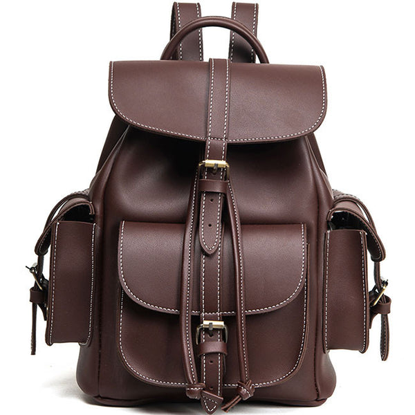 Fashion Three Pockets PU Smooth Large School Backpacks