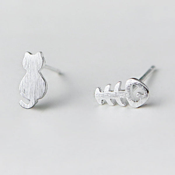 Unique Cat Fish Bone Kitty Mini Brushed Silver Girl's Cute Animals Different Earring Studs