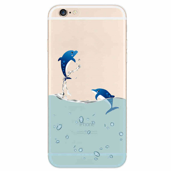Couple Dolphin Transparent Thin Soft Silica Gel Iphone Cases For 5/5S/6/6Plus - lilyby