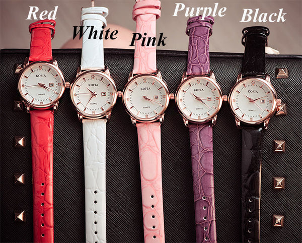 Fashion Diamond Calendar Quartz Cortical Women Waterproof Wrist Watch