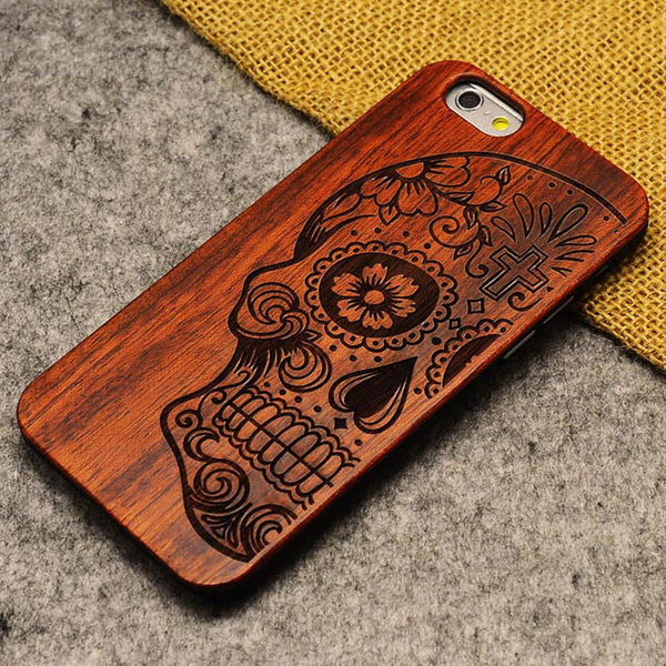Handmade Carving Skull Wood  Case For Iphone 5/5S/6/6Plus - lilyby